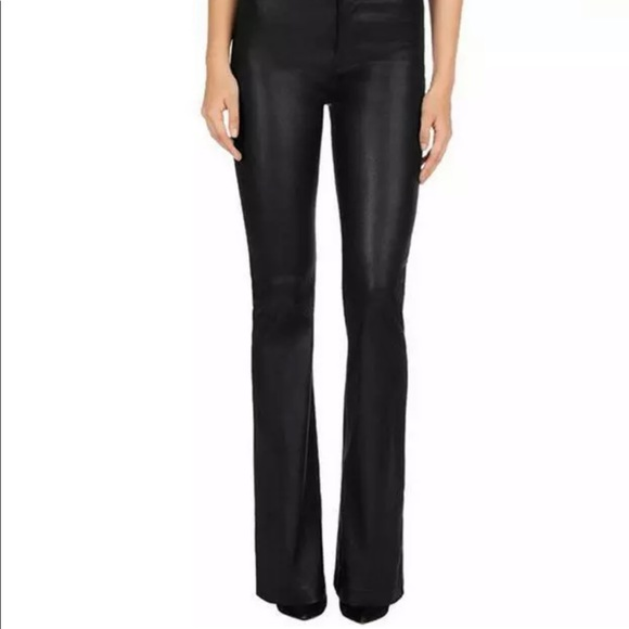 Bellanni Black Leather bell bottom Pants